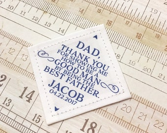 Wedding Gift to Dad • Personalized Tie Patch • Father of the Groom • To Dad From Son • Suit Label • Birthday Gift • Good Man • Best Father