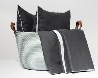 Linen accent pillow cover, Piping pillow, Trimmed pillow cover, Charcoal and dove grey pillow covers, Custom color linen decorative pillows