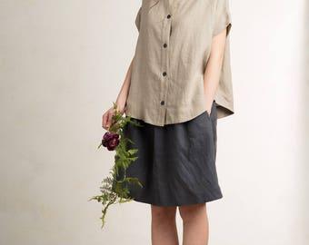 Linen shirt for woman, Loose fit women's shirt, Short sleeve shirt, Flax grey top, Linen women's clothing by LHI