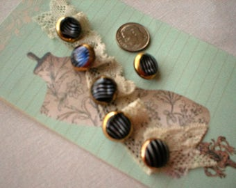Six  Modern Striped Moonglow Buttons With Gold Luster  ~  Moonglow Buttons Black Back-Side ~ Vintage Moonglow Buttons