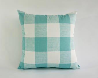 SET OF TWO Decorative Throw Pillow Aqua and White Buffalo Check Print on Medium Weight Cotton