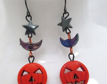 Grinning Halloween Jack-o-lantern Beaded Dangle Earrings with Crescent Moons and Hematite Stars