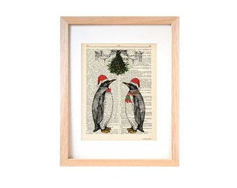 Penguins under mistletoe Christmas dictionary print-Funny animal print-Funny penguin print-Christmas gift-Christmas decor-NATURA PICTA-DP122