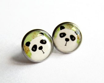 Cute Panda Earrings, Panda Studs, Panda Jewelry, Gift for Her. Hypoallergenic, Surgical Steel