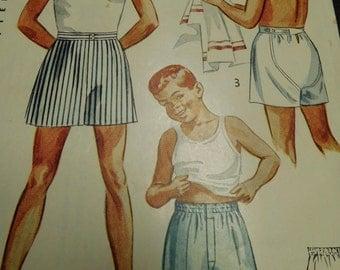 "Vintage 50's Simplicity  #4151 Sewing Pattern Child's Boy Boxer Shorts Underwear Size 8 Waist 23""  Complete"