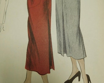 Vintage 40's Vogue #6741 Sewing Pattern Women's Slim Pencil Skirt with Hip Side Pockets Complete Waist 24""