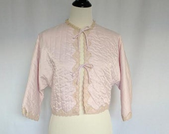 Vintage Mauve Quilted Bed Jacket