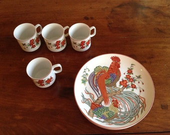 Vintage Luncheon Set, 4 Plates and 4 Cups, Rooster Motif, Neiman Marcus