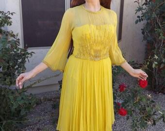 Vintage Hollywood Designer Helen Rose 50s Beaded Silk Chiffon Yellow Gown