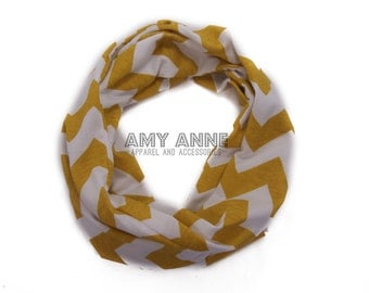 Kids Mustard Yellow & White Chevron Infinity Scarf Accessories Family Photo Picture Props Scarves Children Girls Toddler