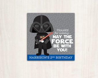Darth Blue Favor Tags - Thank You Tags - Star Wars - Party Supplies