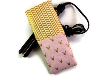 Pink and Glitter Gold Stag Silhouettes on a Chevron Background-Travel Flat Iron Case- Curling Iron Case- Hot Iron Case,