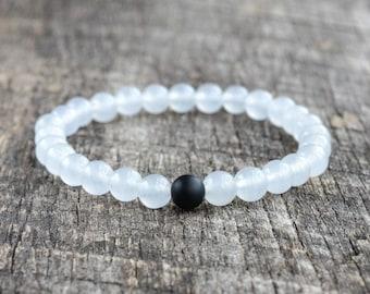 Matte Onyx & Jade • Gemstone Bracelet • Stacking Bracelet • Stretch Bracelet • Yoga Bracelet • Womens / Mens Beaded Bracelet • Gifts