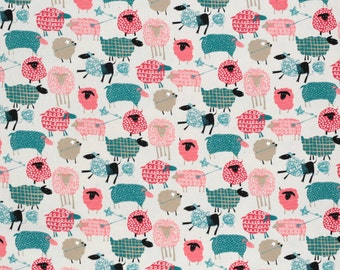 Japanese fabric - Hokkoh Tahti - kawaii sheep in oxford cotton - 1/2 YD