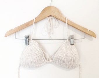 Strappy Bralette - Cotton Bra with Criss-Crossing Chest Straps - 50 Color Options - Handmade Vegan Clothing - Made to Order - Noelebelle