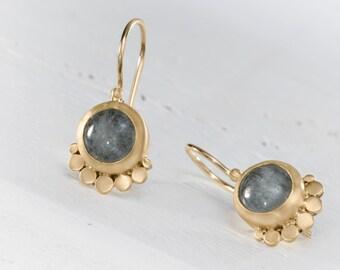 Aquamarine Earring, Aquamarine Dangle Earrings, Gemstone Earrings , Gemstone Dangle Earrings , 22k Gold Dangle Earrings, solid Gold Earrings