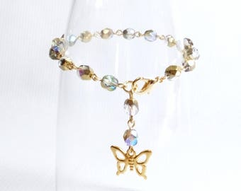 Light Iridescent Rainbow Crystal Rosary Bead Style Bracelet with Gold Butterfly Charm