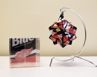 Labatt Blue Detroit Red Wings Origami Ornament // Upcycled Recycled Repurposed // handmade keepsake // gift for him // Valentines Day