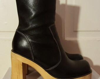 BLACK PLATFORM BOOTS // 90's Luv Steve Madden Leather Wooden Heels Platform Boots Witch Goth Punk Size 7.5 Brazil