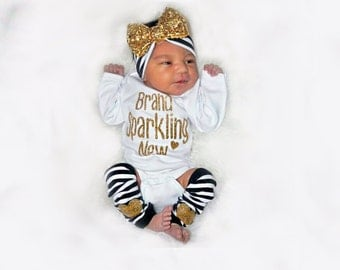 Newborn Girl Outfit, Brand Sparkling New, Baby Girl Take Home Outfit, Coming Home Outfit, Gift Set, Leg Warmers Headband Options, Gold Black