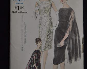 1960's Elegant Vogue Evening Dress - One piece Dress and Cape - Size 14 - Vogue 5648