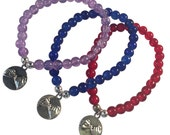 PINKY PROMISE Charm BRACELET 10 Colours 6mm Crackle Glass Beads Silver Tone Beads Faithful Best Friend