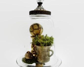 Large Unique Brass Bell Glass Cloche Dome On Pedestal Exclusive Design Antique Vintage Parts