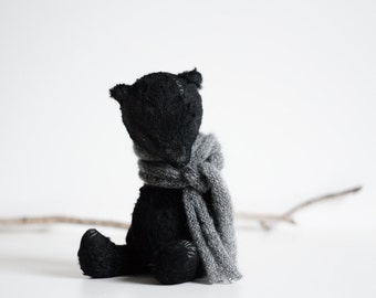 Made To Order Black Teddy Bear Handmade Mohair Plush Stuffed Animal Soft Toy Knitted Scarf 8 Inches Free Shipping Gift For Her