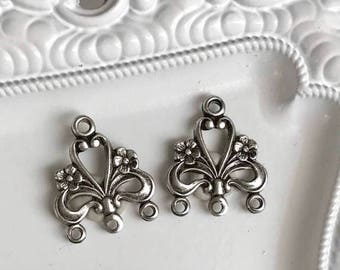sterling silver plated over bronze filigree jewelry connectors antiqued vintage style with daisy flower detail, art nouveau, 1 pair