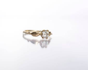 Gold Twig Moissanite Ring with Leaf - Cast Natural Twig Branch Leaves Elvish Moissanite 5mm
