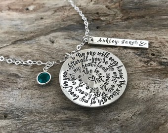 Personalized Mommy Necklace | Birthstone | Gift For Mom | Mothers Necklace With Childs Names | Strength of My Love Phrase Necklace