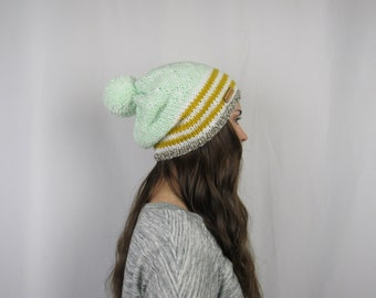 FLASH SALE Adorable Striped and Dotted Mustard and Mint Slouchy Beanie