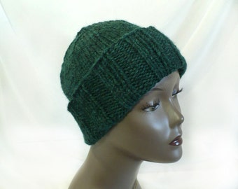 Man's Hand Knit Winter Hat, Forest Green, Watchcap or Slouchy Beanie, Chunky Knit Convertible Hat, Handmade in USA, Ready to Ship