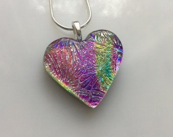 Dichroic Heart Pendant, Fused Glass Jewelry, Purple Pink Yellow Flower Dichroic Heart Necklace