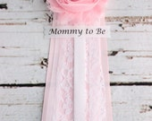 Pink Lace Baby Shower Corsage Mommy Pin or Bridal Shower Corsage with Mommy to Be Grandma to Be Bride to Be Pins Badge