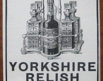 Goodall, Yorkshire Relish, 1899, vintage, ad, original, sauce, relish, English, advertisement, free shipping, paper, ephemera