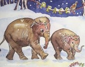 Elephants in the Snow Holiday Card, by Michelle Kogan, Endangered species, Christmas, Hanukkah, Watercolor, Children's Art, Watercolor, Pens