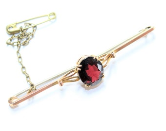 Antique Edwardian 9ct Gold Amethyst Bar Brooch with Safety Chain (c1900s) FREE SHIPPING