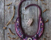 """Bohemian textile necklace """"Byron"""", Silk fabric jewelry, Necklace with skull, Mystery Fantasy necklace, Dark purple lilac, Statement necklace"""