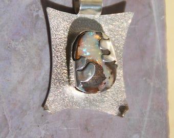 Handmade, Australian boulder opal, unique sterling silver pendant