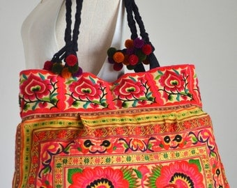 Women Bag Hmong Ethnic Embroidered Boho Handbag Thai Hill Tribe Tote Messenger Purse Vintage Bag XTOX74