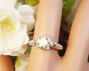 1.25Ct G-H White Moissanite Setting Choice, Sterling Silver Ring, Extreem Sparkle 1.25 Ct 7.15 m Scroll Setting