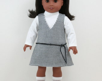 1960s Black and White Houndstooth American Girl style 18inch Doll Jumper