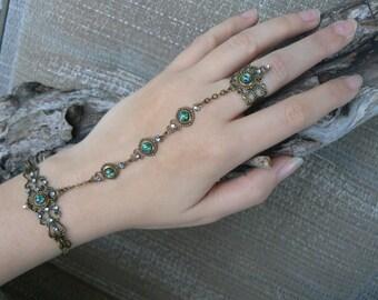 opal hand chain green fire opal slave bracelet elfin hand chain festival bohemian Renaissance  victorian moon goddess pagan boho gypsy style