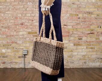 woven jute purse / straw purse / top handle bag / square purse / summer bag / small market bag / woven shoulder bag / boho purse
