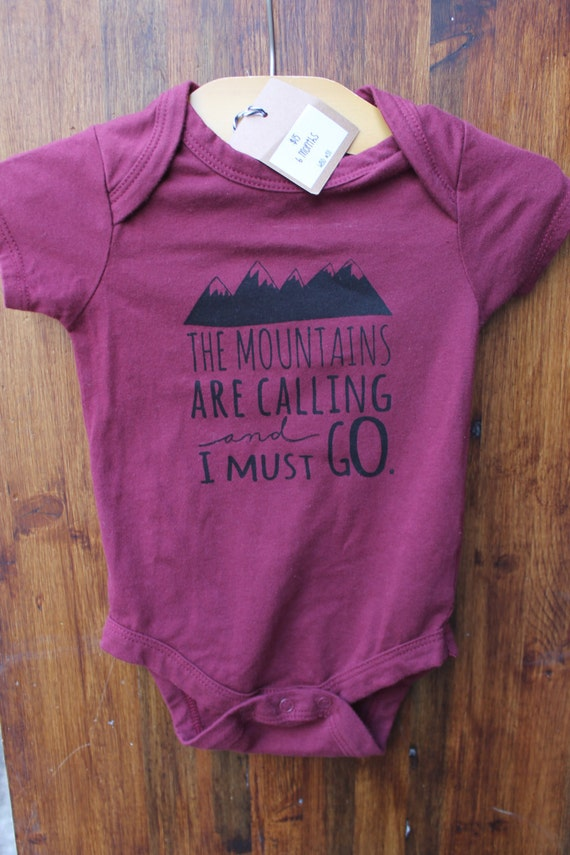 """6 months- Graphic Print Baby Bodysuit in """"The Mountains Are Calling And I Must Go"""", bodysuit onesie infant toddler, Hipster Style"""