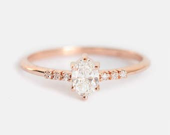 Diamond Ring, Diamond Engagement Ring, Oval Diamond Ring, Rose Gold Diamond Ring, Rose Gold Wedding Ring, Simple Diamond Ring