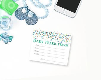 Boy Baby Sprinkle Baby Prediction Cards, Printable Baby Shower Game, Baby Predictions, Predictions for Baby, weight, height, size