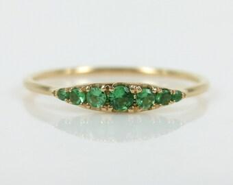 Seven-Stone Graduated Tsavorite Ring in 18K Yellow Gold