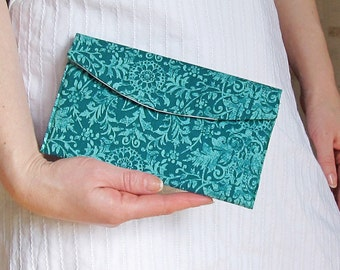 Clutch emerald green, Damask wedding clutch,  Emerald evening purse, Floral bridesmaid clutch, Turquoise makeup bag, Wedding favor gift